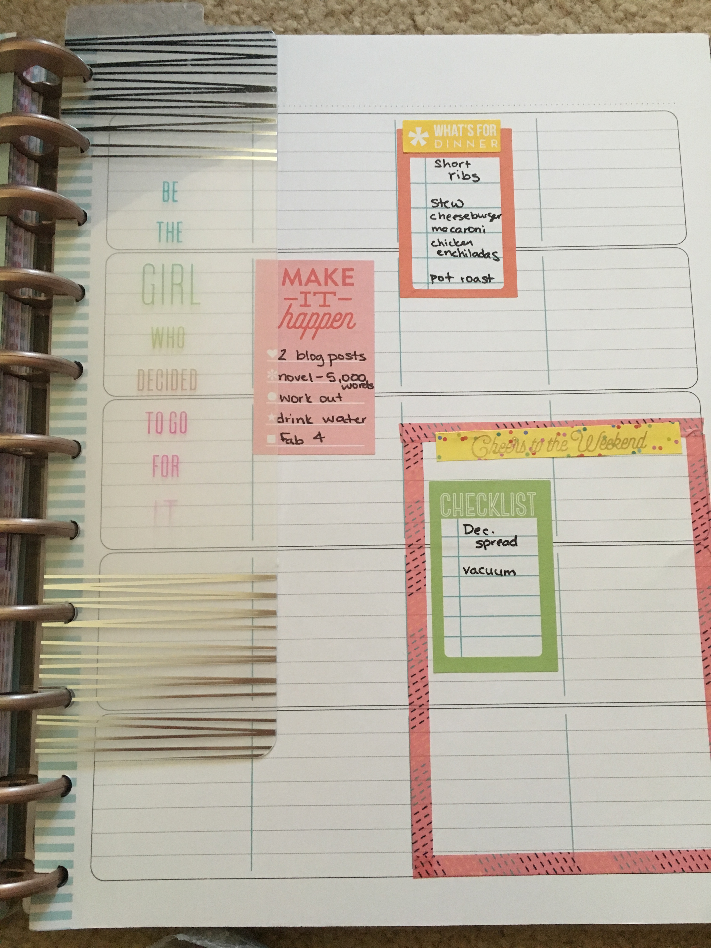 Planner spread for the week of November 26th that includes areas for meal planning and weekend plans.